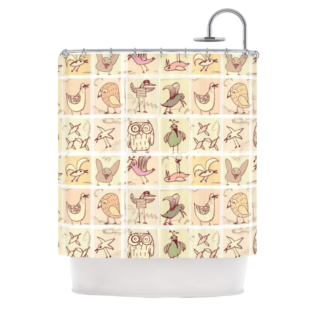 "Marianna Tankelevich ""Birdies"" Yellow Brown Shower Curtain - KESS InHouse"
