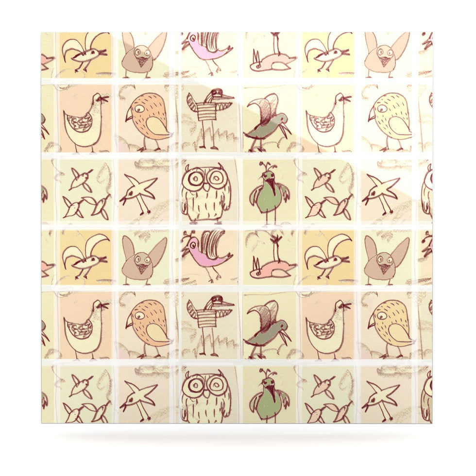 "Marianna Tankelevich ""Birdies"" Yellow Brown Luxe Square Panel - KESS InHouse  - 1"