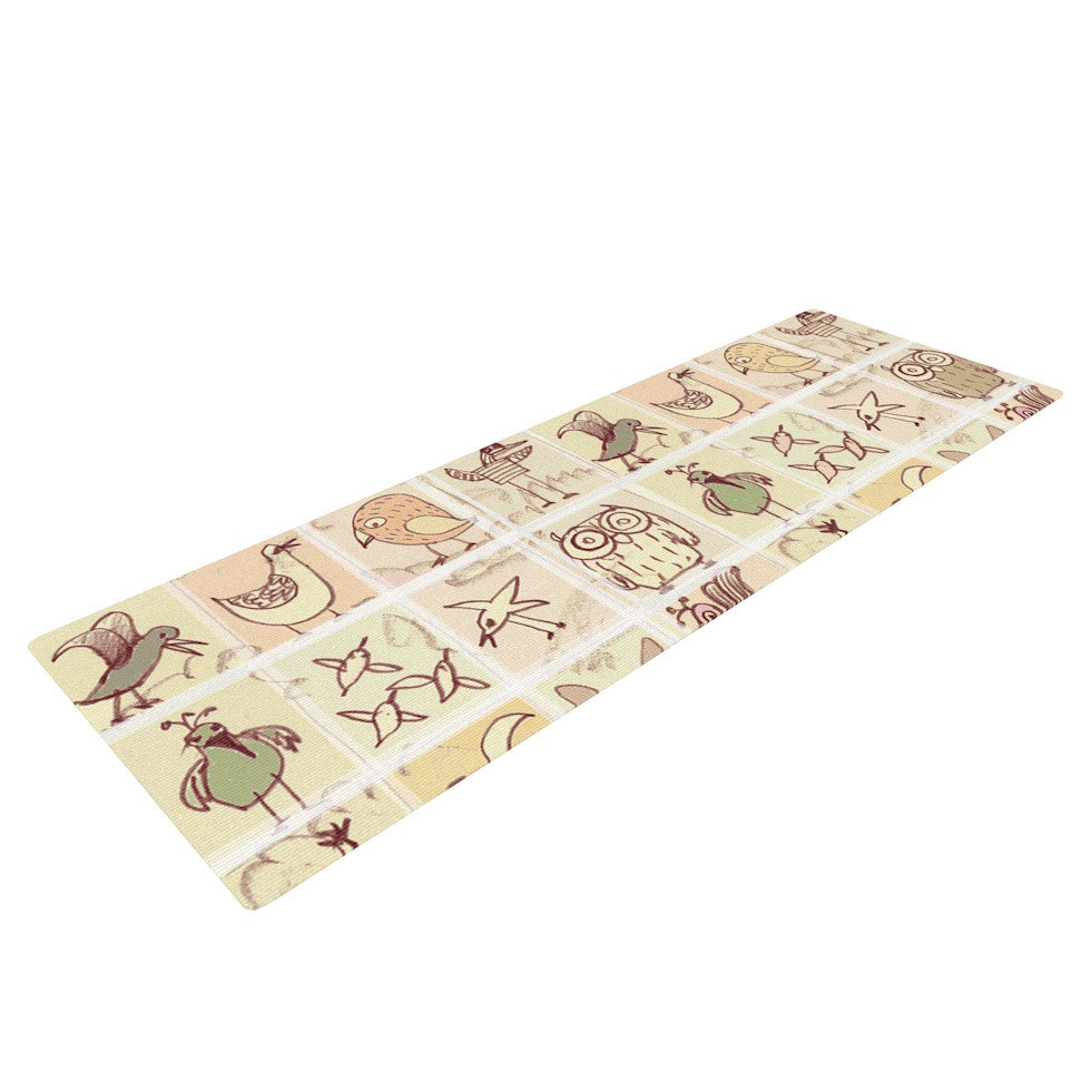 "Marianna Tankelevich ""Birdies"" Yellow Brown Yoga Mat - KESS InHouse  - 1"