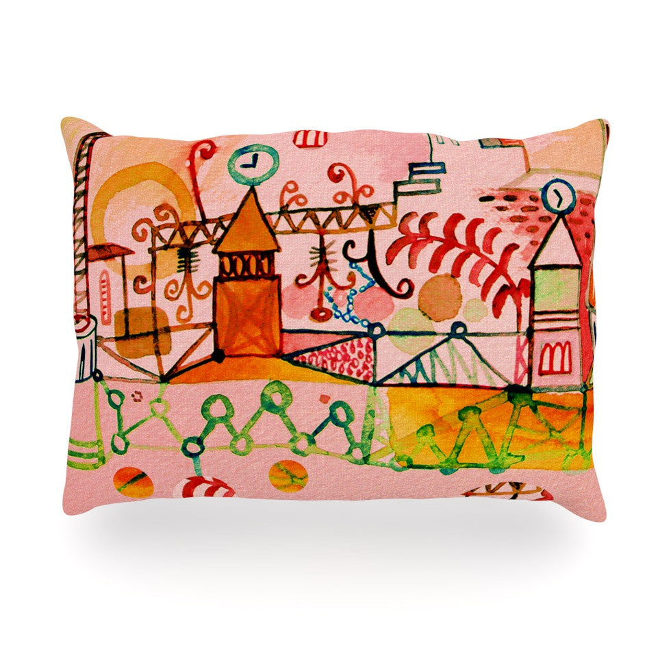 "Marianna Tankelevich ""Happy Town"" Pink Oblong Pillow - KESS InHouse"