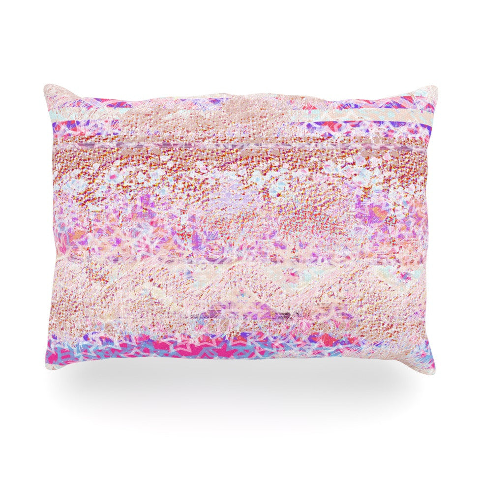 "Marianna Tankelevich ""Broken Pattern"" Pink Purple Oblong Pillow - KESS InHouse"