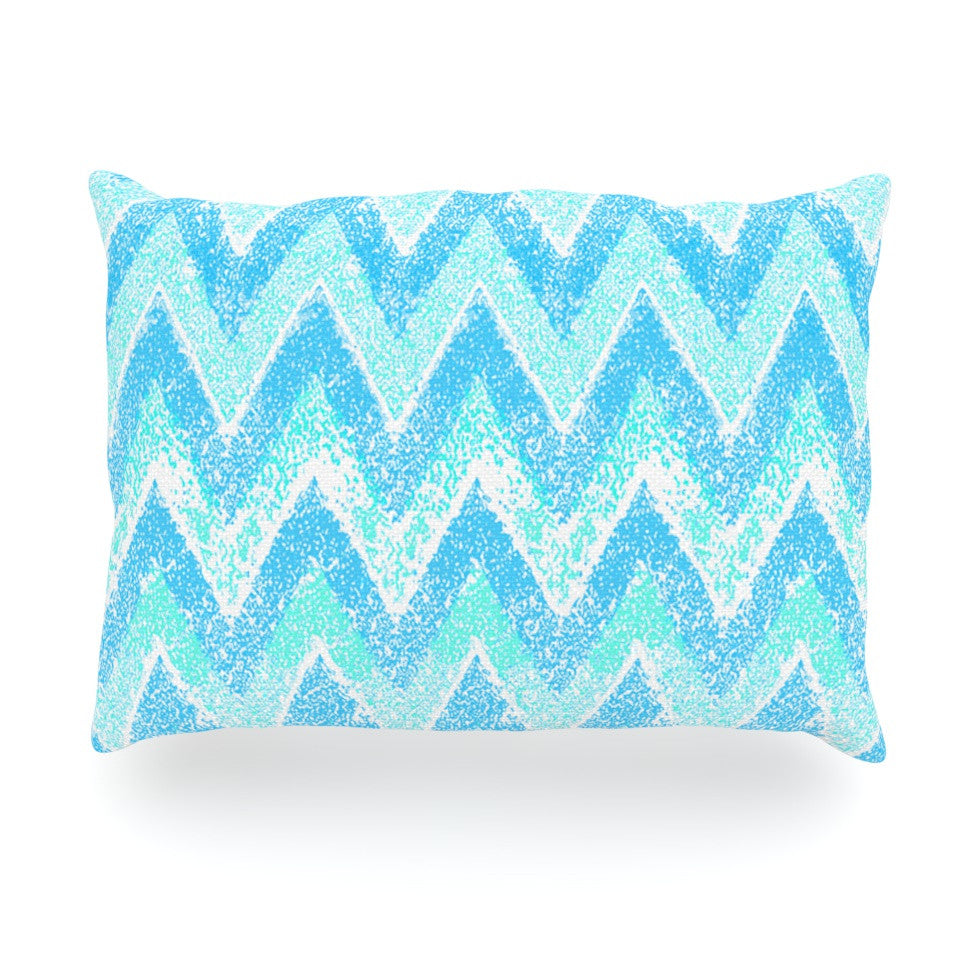 "Marianna Tankelevich ""Mint Snow Chevron"" Blue Chevron Oblong Pillow - KESS InHouse"