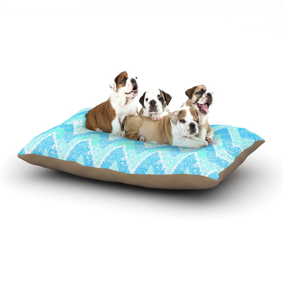 "Marianna Tankelevich ""Mint Snow Chevron"" Blue Chevron Dog Bed - KESS InHouse  - 1"