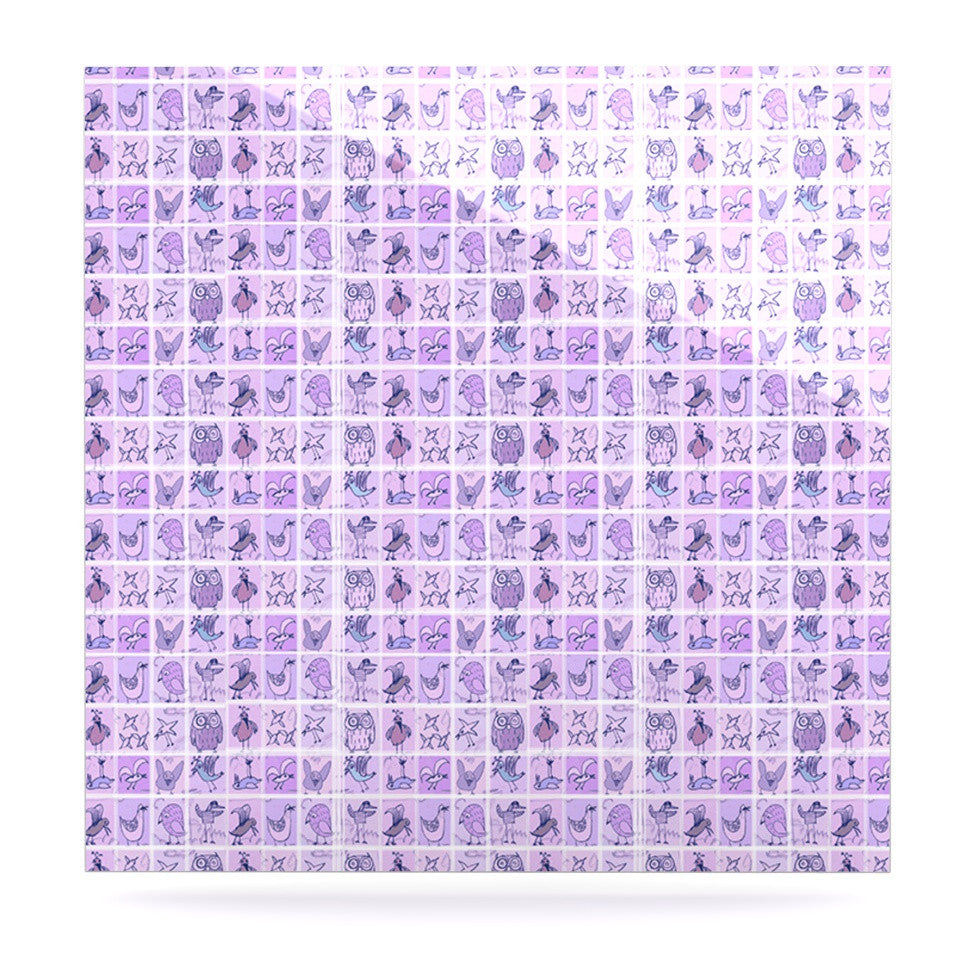 "Marianna Tankelevich ""Cute Birds Purple"" Pink Lavender Luxe Square Panel - KESS InHouse  - 1"