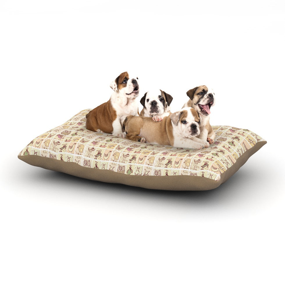 "Marianna Tankelevich ""Cute Birds"" Tan Grid Dog Bed - KESS InHouse  - 1"