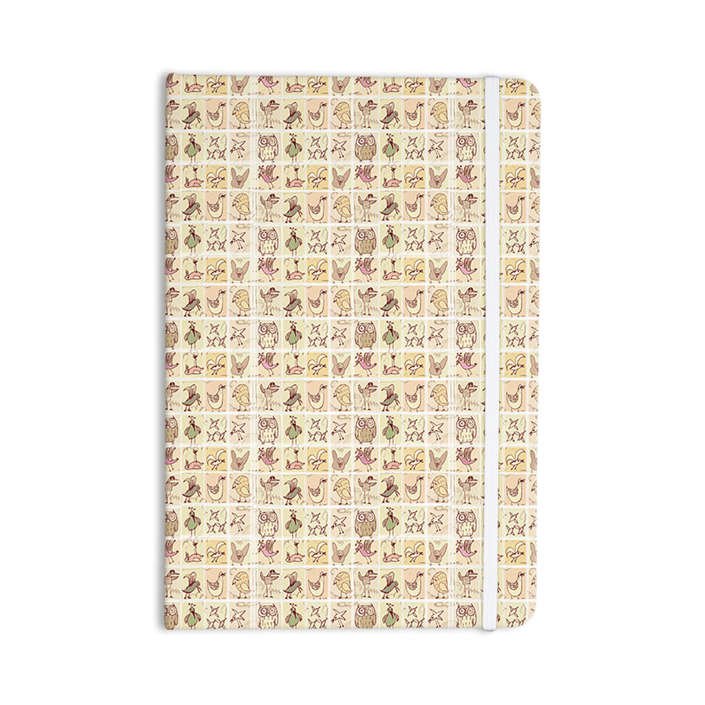 "Marianna Tankelevich ""Cute Birds"" Tan Grid Everything Notebook - KESS InHouse  - 1"