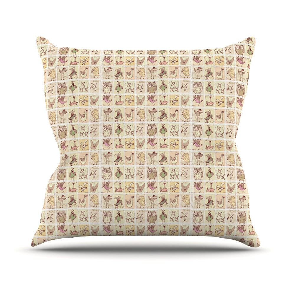 "Marianna Tankelevich ""Cute Birds"" Tan Grid Throw Pillow - KESS InHouse  - 1"