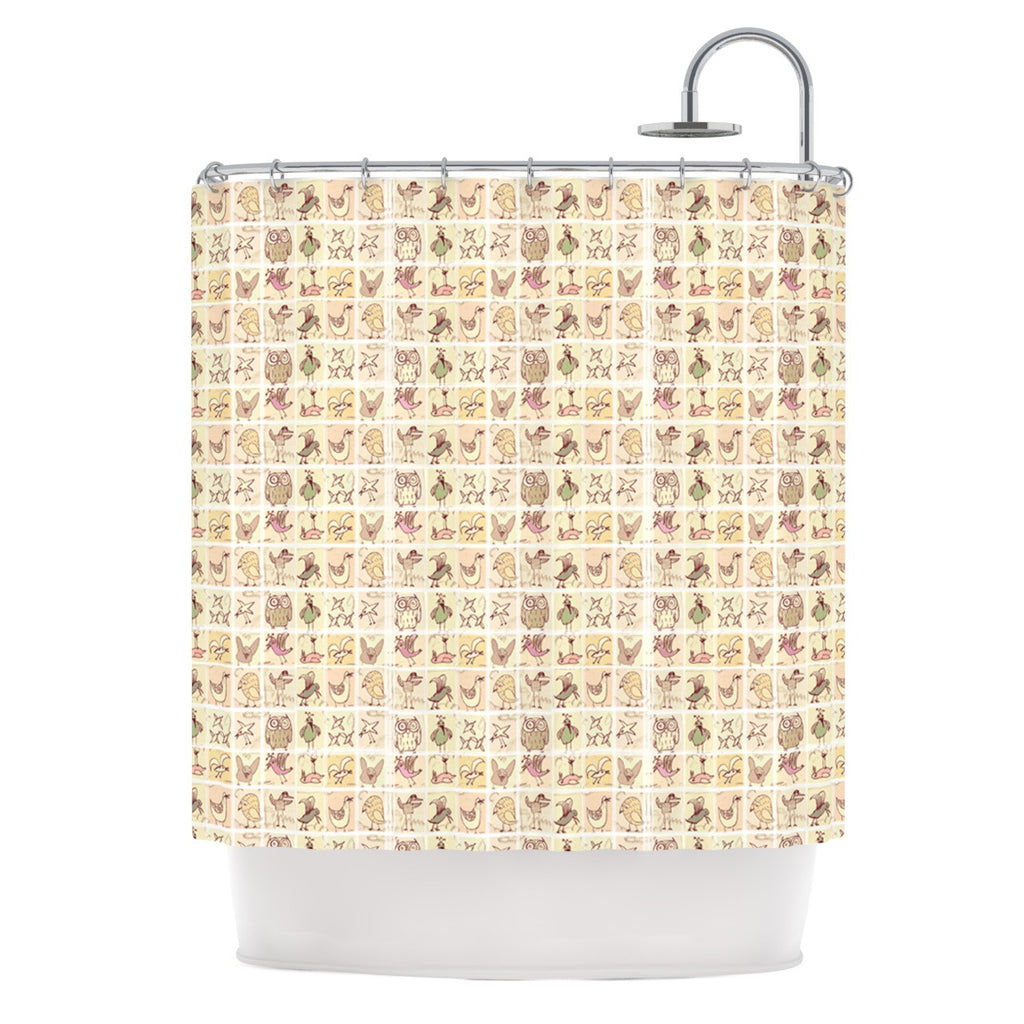"Marianna Tankelevich ""Cute Birds"" Tan Grid Shower Curtain - KESS InHouse"