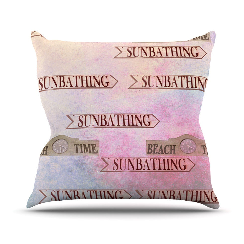 "Marianna Tankelevich ""Beach Time"" Pink Purple Outdoor Throw Pillow - KESS InHouse  - 1"