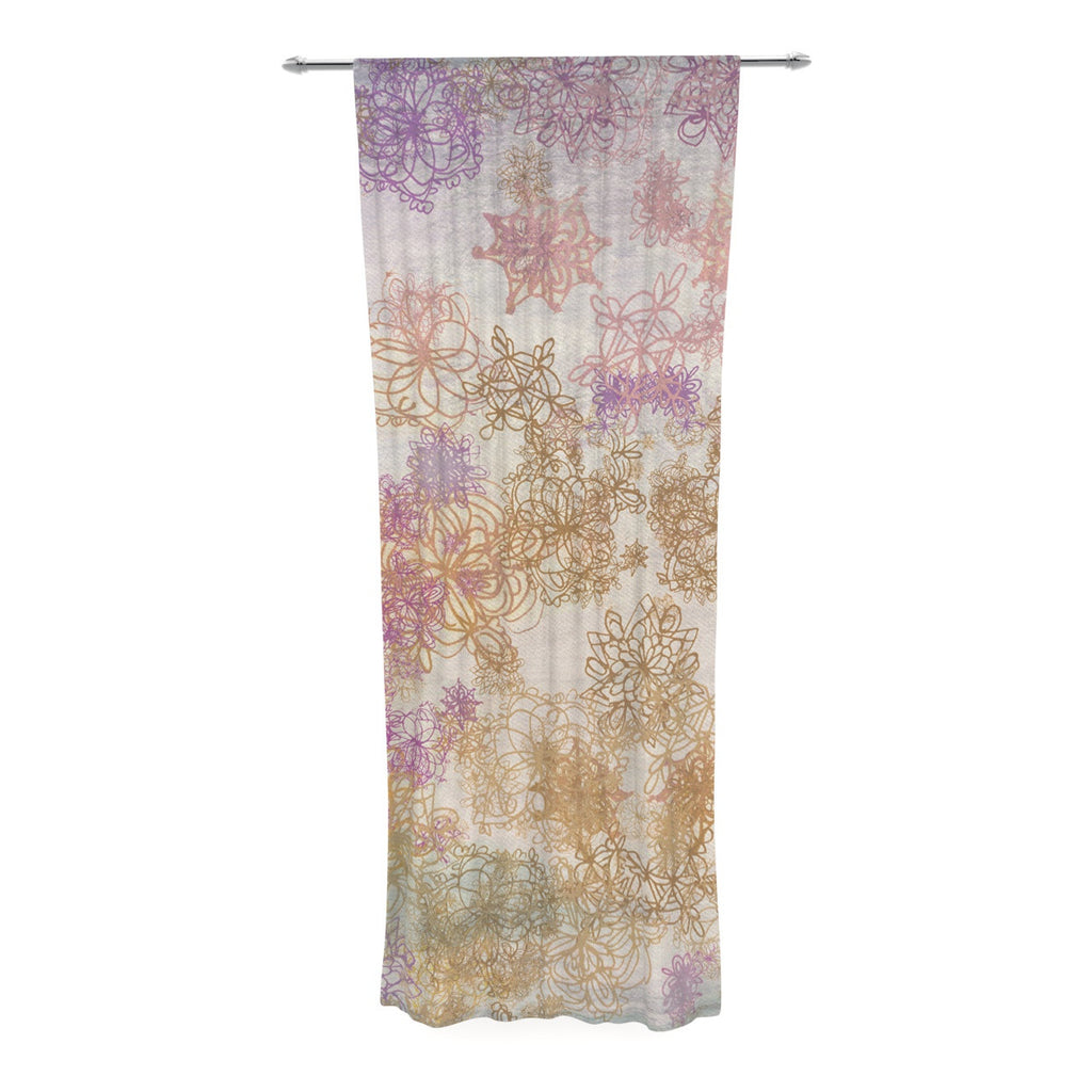 "Marianna Tankelevich ""Retro Summer"" Yellow Pink Decorative Sheer Curtain - KESS InHouse  - 1"