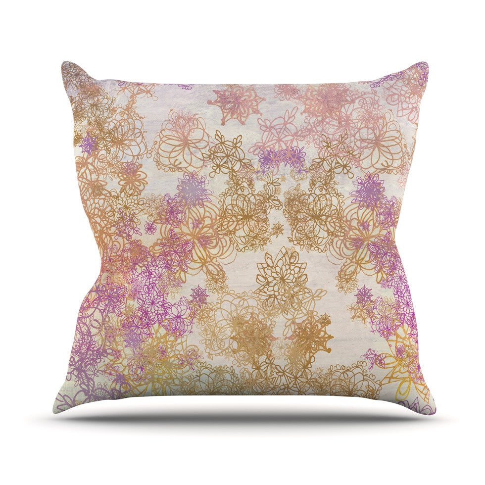 "Marianna Tankelevich ""Retro Summer"" Yellow Pink Outdoor Throw Pillow - KESS InHouse  - 1"