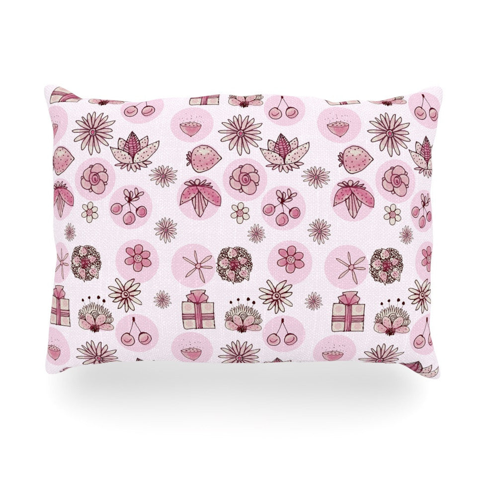 "Marianna Tankelevich ""Cute Stuff"" Pink Illustration Oblong Pillow - KESS InHouse"