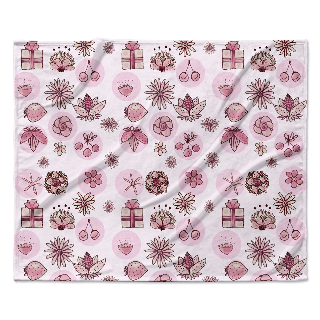 "Marianna Tankelevich ""Cute Stuff"" Pink Illustration Fleece Throw Blanket"