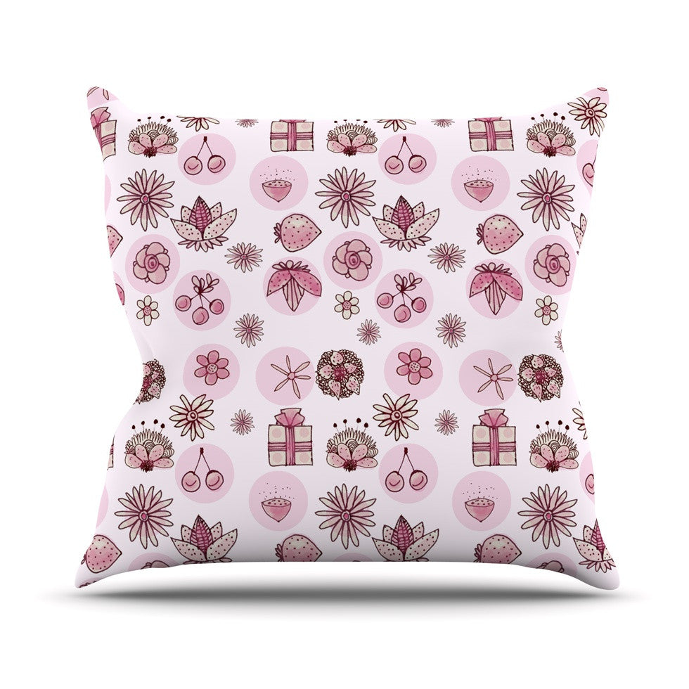 "Marianna Tankelevich ""Cute Stuff"" Pink Illustration Outdoor Throw Pillow - KESS InHouse  - 1"