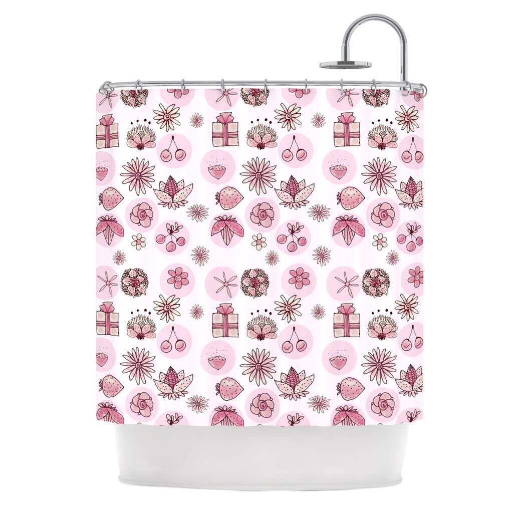 "Marianna Tankelevich ""Cute Stuff"" Pink Illustration Shower Curtain - KESS InHouse"