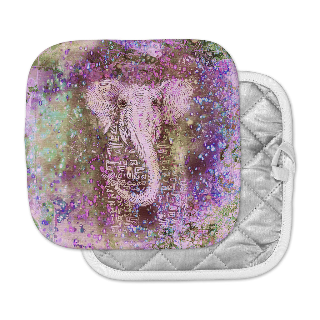 "Marianna Tankelevich ""Pink Dust Magic"" Elephant Sparkle Pot Holder"