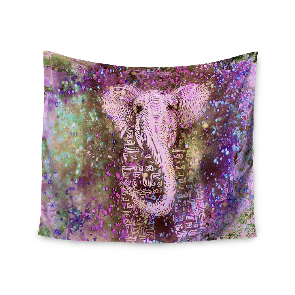 """Pink Wall Tapestry marianna tankelevich """"pink dust magic"""" elephant sparkle wall"""