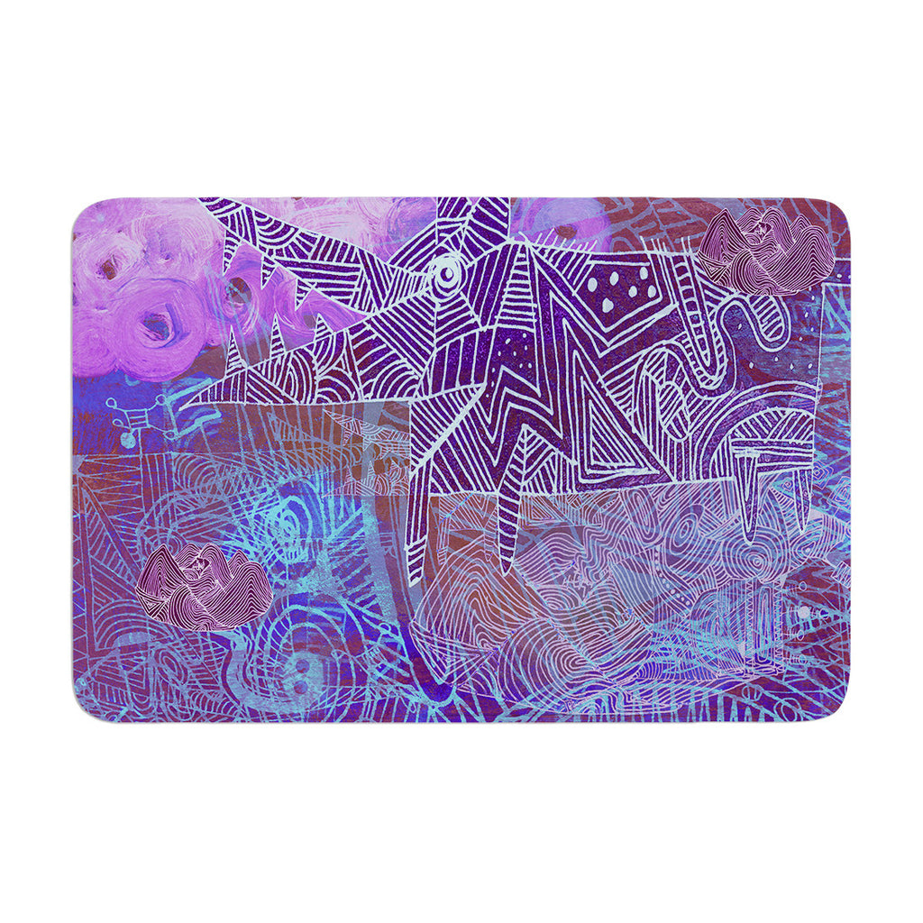 "Marianna Tankelevich ""Abstract With Wolf"" Purple Illustration Memory Foam Bath Mat - KESS InHouse"