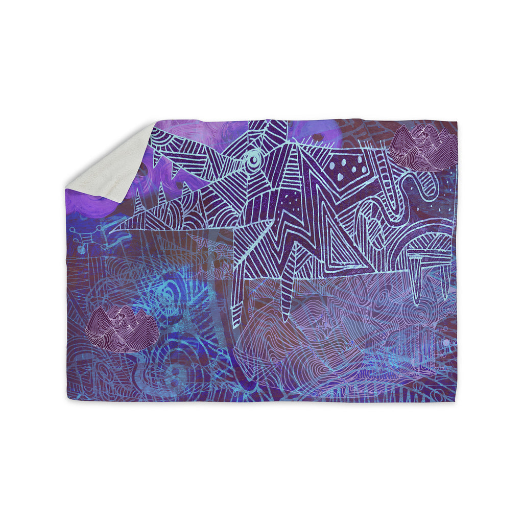"Marianna Tankelevich ""Abstract With Wolf"" Purple Illustration Sherpa Blanket - KESS InHouse  - 1"