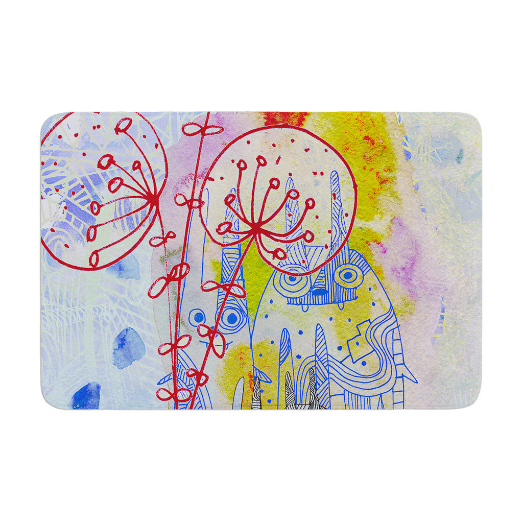 "Marianna Tankelevich ""Composition with Bunnies in Blue"" Abstract Rabbits Memory Foam Bath Mat - KESS InHouse"