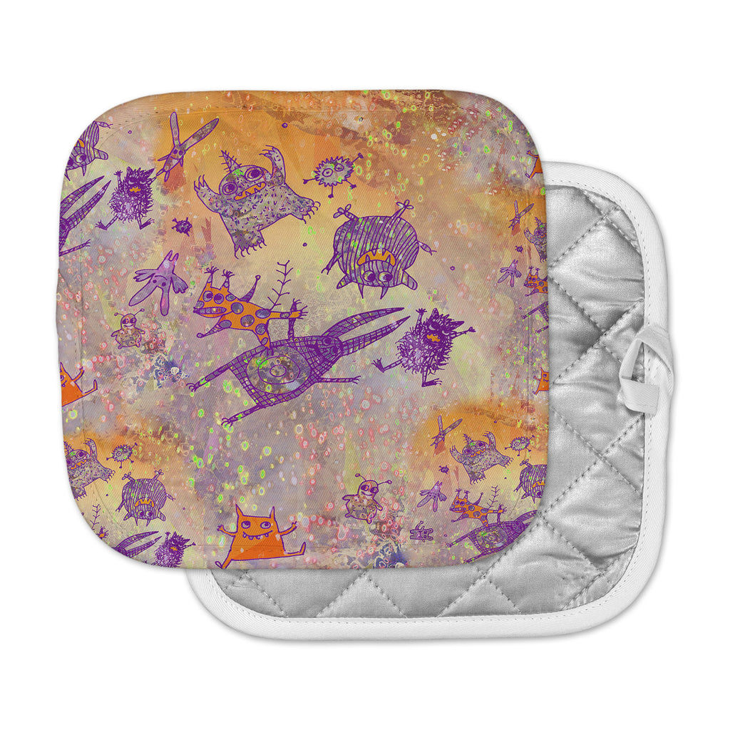 "Marianna Tankelevich ""Levitating Monsters"" Orange Purple Pot Holder"