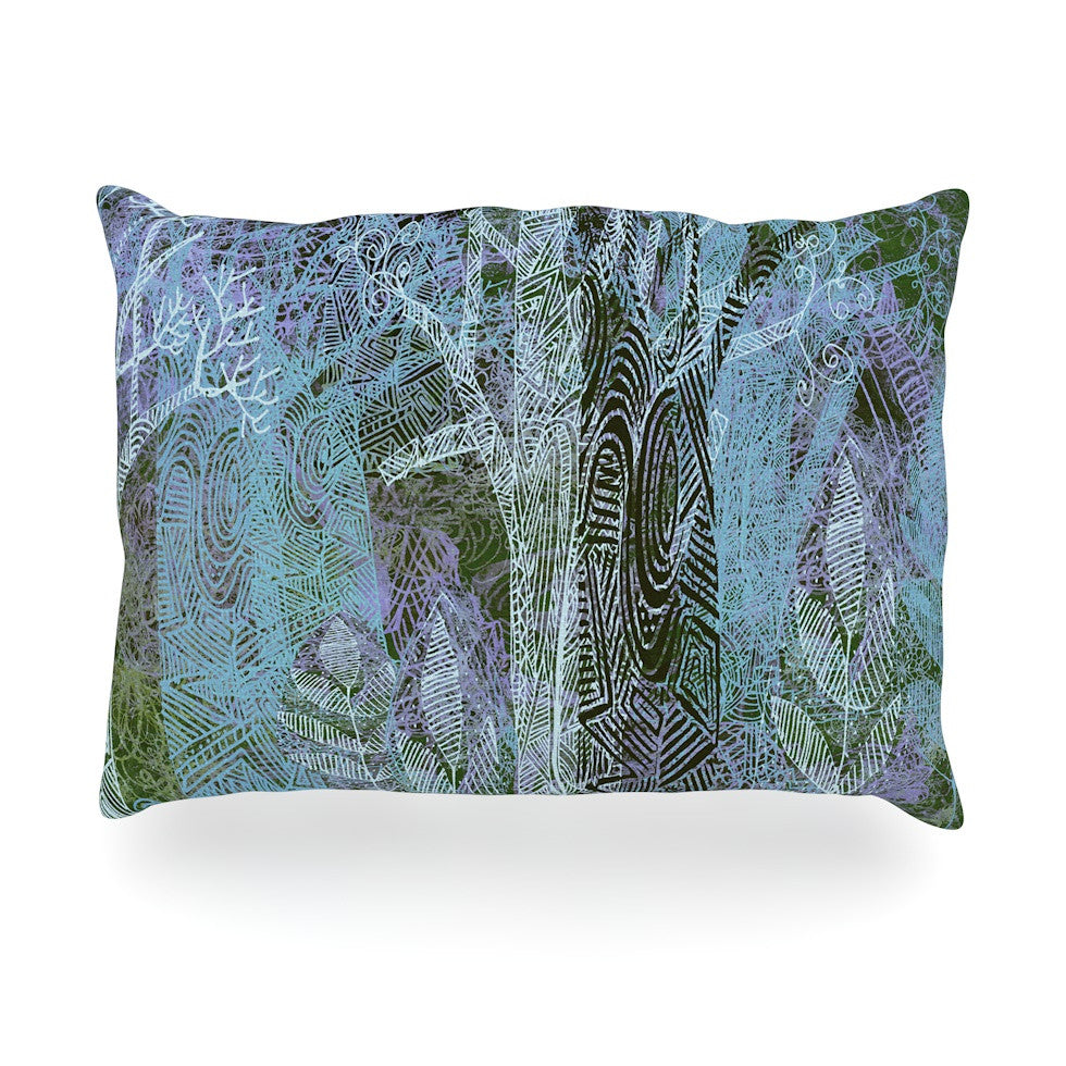 "Marianna Tankelevich ""Wild Forest"" Blue Trees Oblong Pillow - KESS InHouse"
