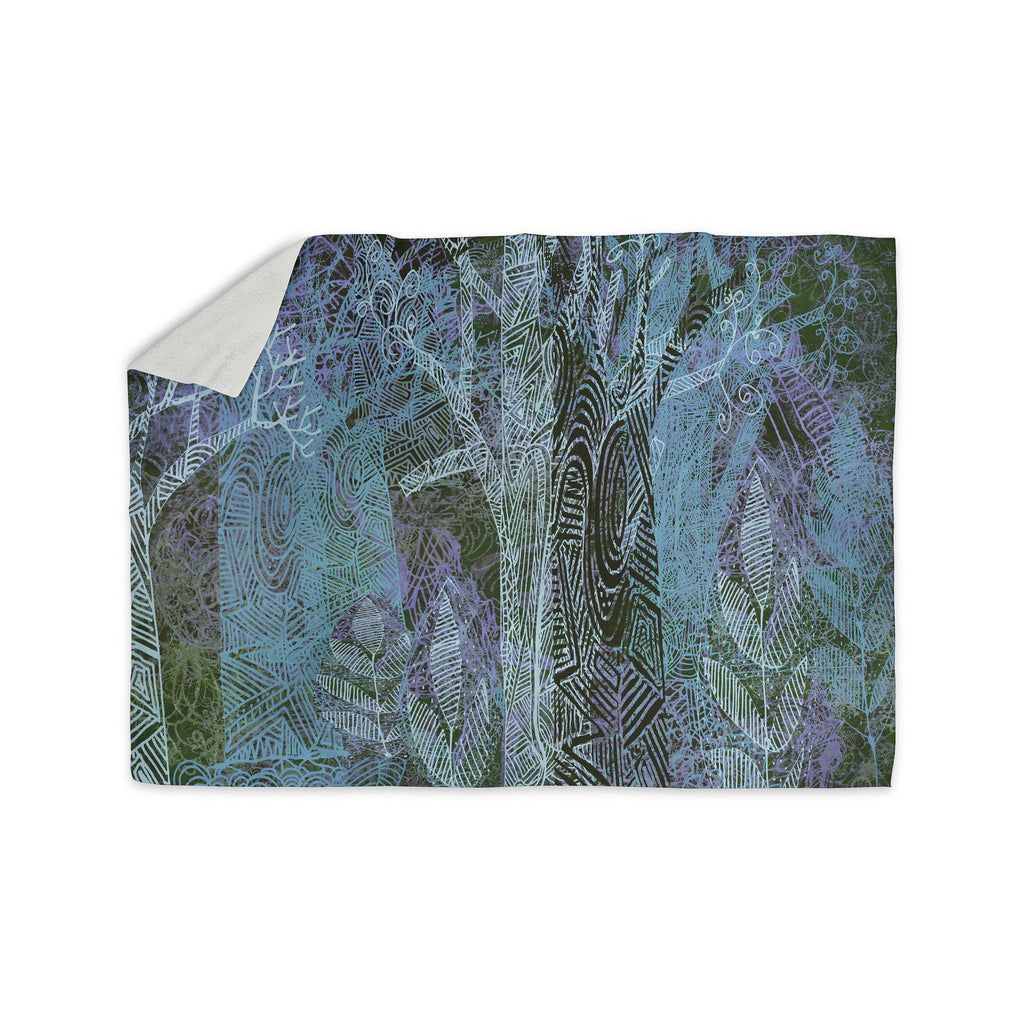 "Marianna Tankelevich ""Wild Forest"" Blue Trees Sherpa Blanket - KESS InHouse  - 1"