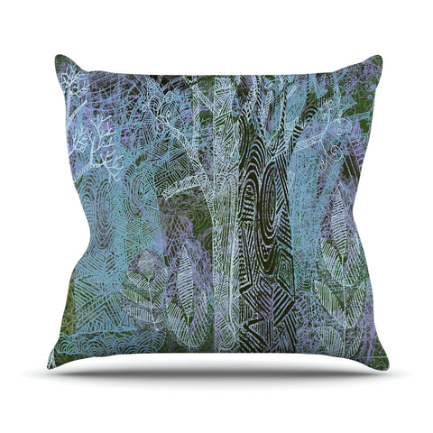 "Marianna Tankelevich ""Wild Forest"" Blue Trees Throw Pillow - Outlet Item - KESS InHouse"