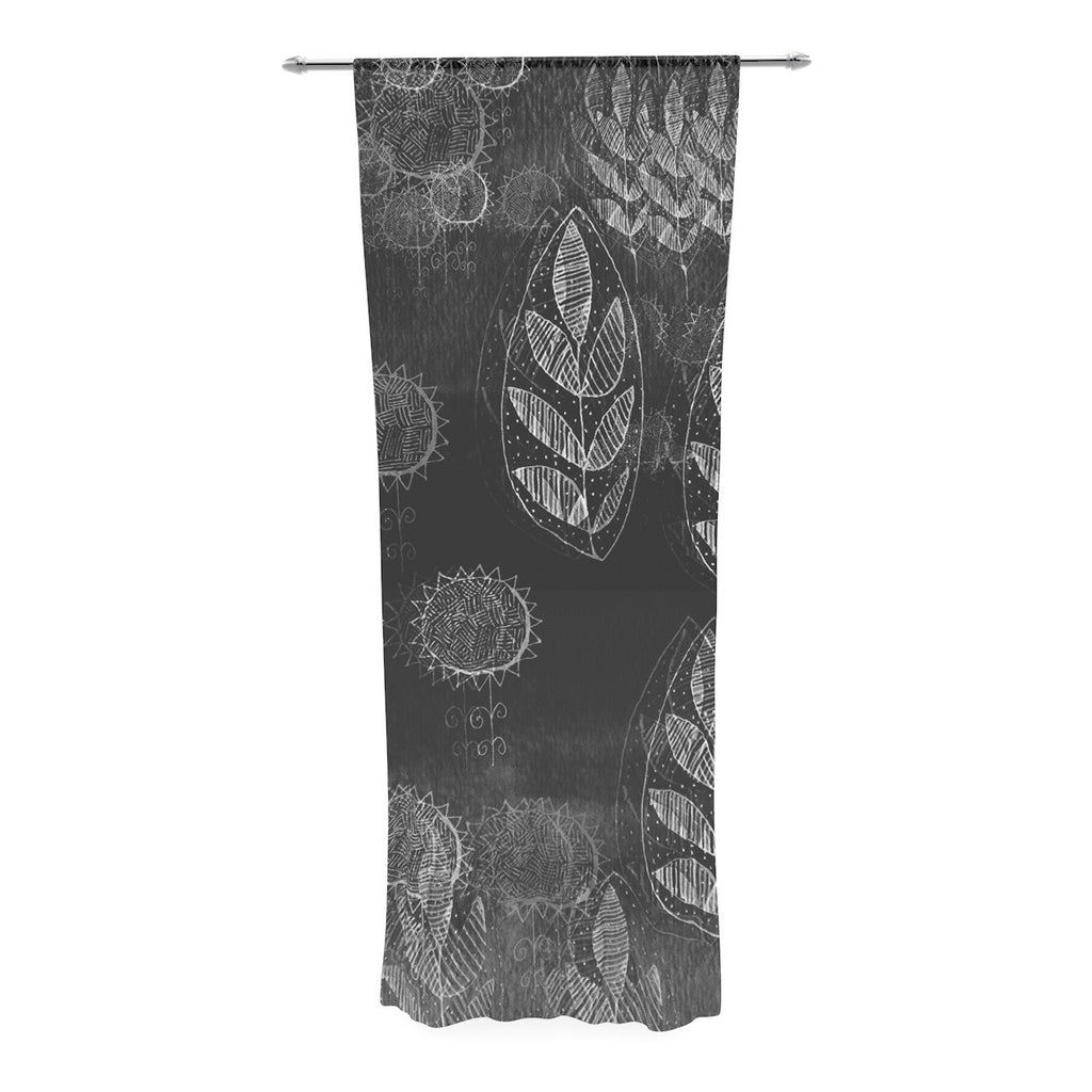 "Marianna Tankelevich ""Grey Dream"" Black Gray Decorative Sheer Curtain - KESS InHouse  - 1"