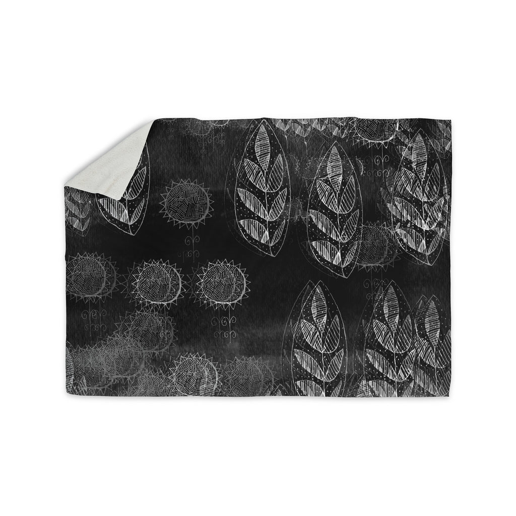 "Marianna Tankelevich ""Grey Dream"" Black Gray Sherpa Blanket - KESS InHouse  - 1"
