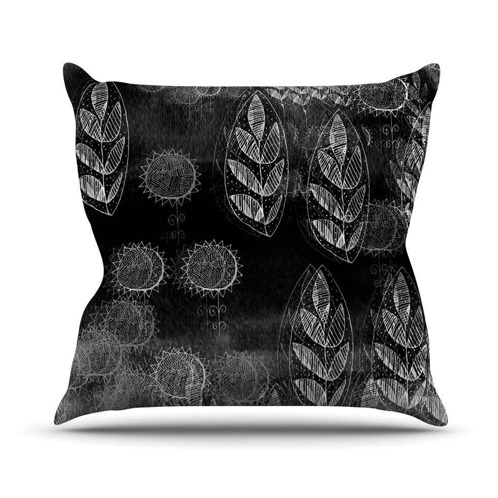 "Marianna Tankelevich ""Grey Dream"" Black Gray Outdoor Throw Pillow - KESS InHouse  - 1"
