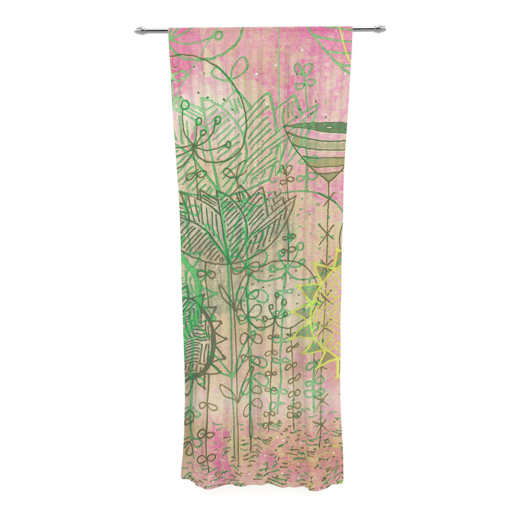 "Marianna Tankelevich ""Pink Dream"" Pink Green Decorative Sheer Curtain - KESS InHouse  - 1"