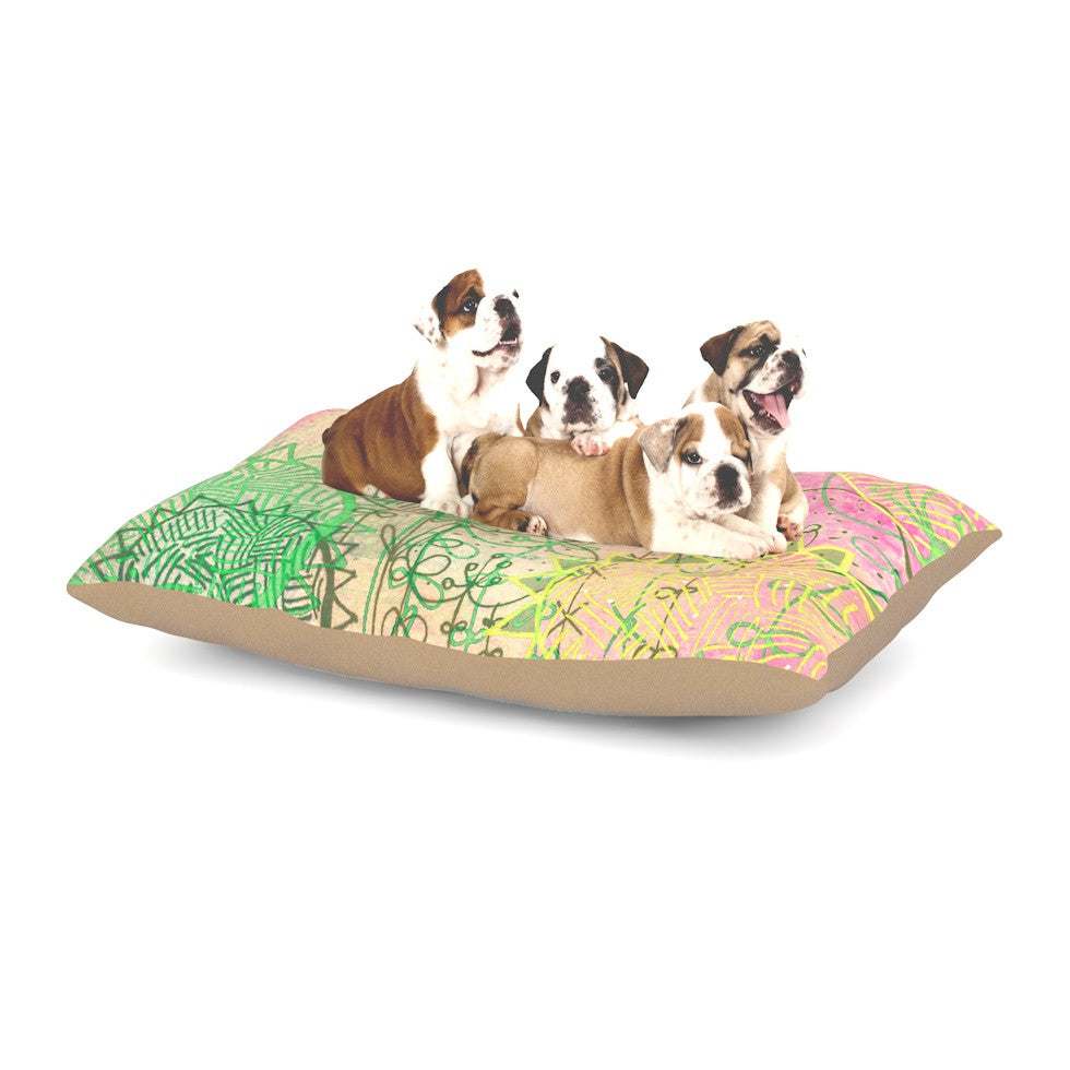 "Marianna Tankelevich ""Pink Dream"" Pink Green Dog Bed - KESS InHouse  - 1"