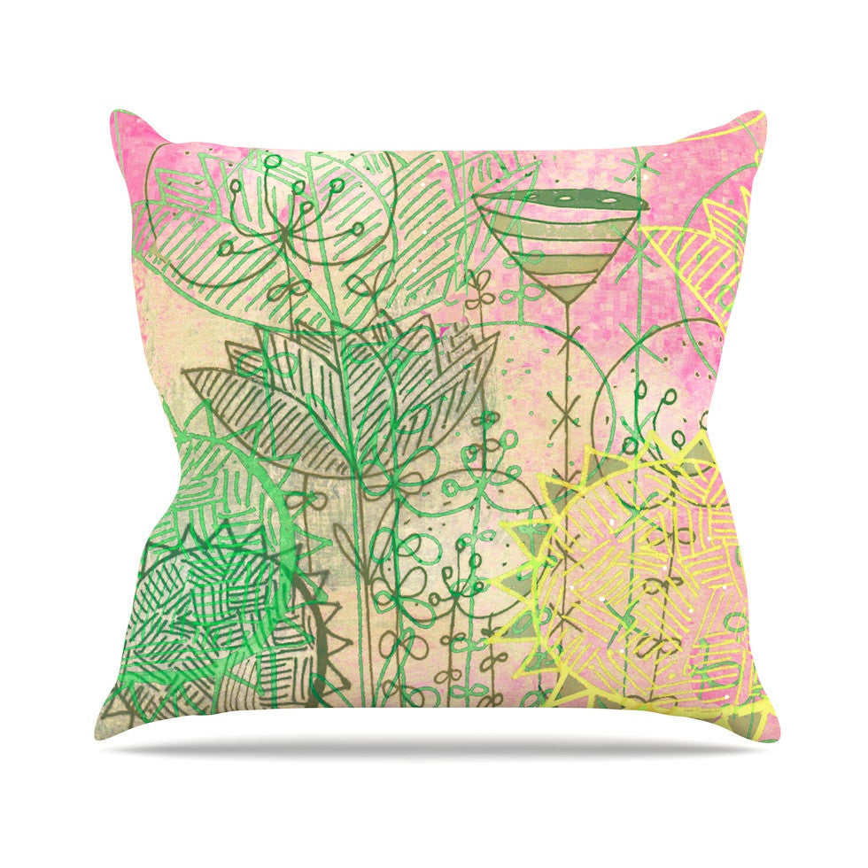 "Marianna Tankelevich ""Pink Dream"" Pink Green Throw Pillow - KESS InHouse  - 1"