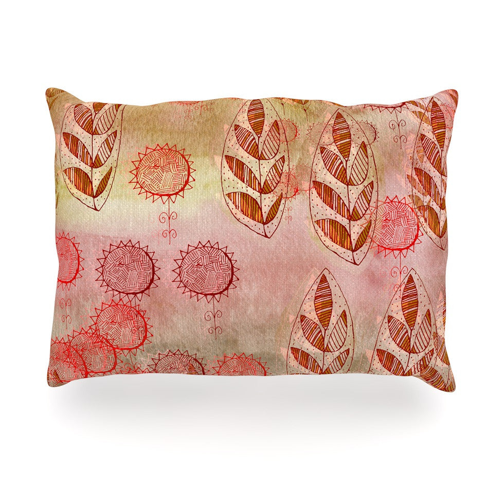 "Marianna Tankelevich ""Summer Music"" Red Orange Oblong Pillow - KESS InHouse"