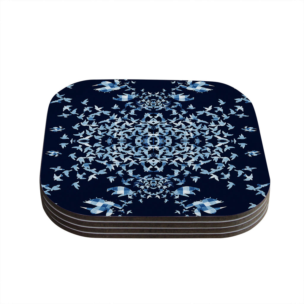 "Marianna Tankelevich ""Night Birds"" Blue Abstract Coasters (Set of 4)"