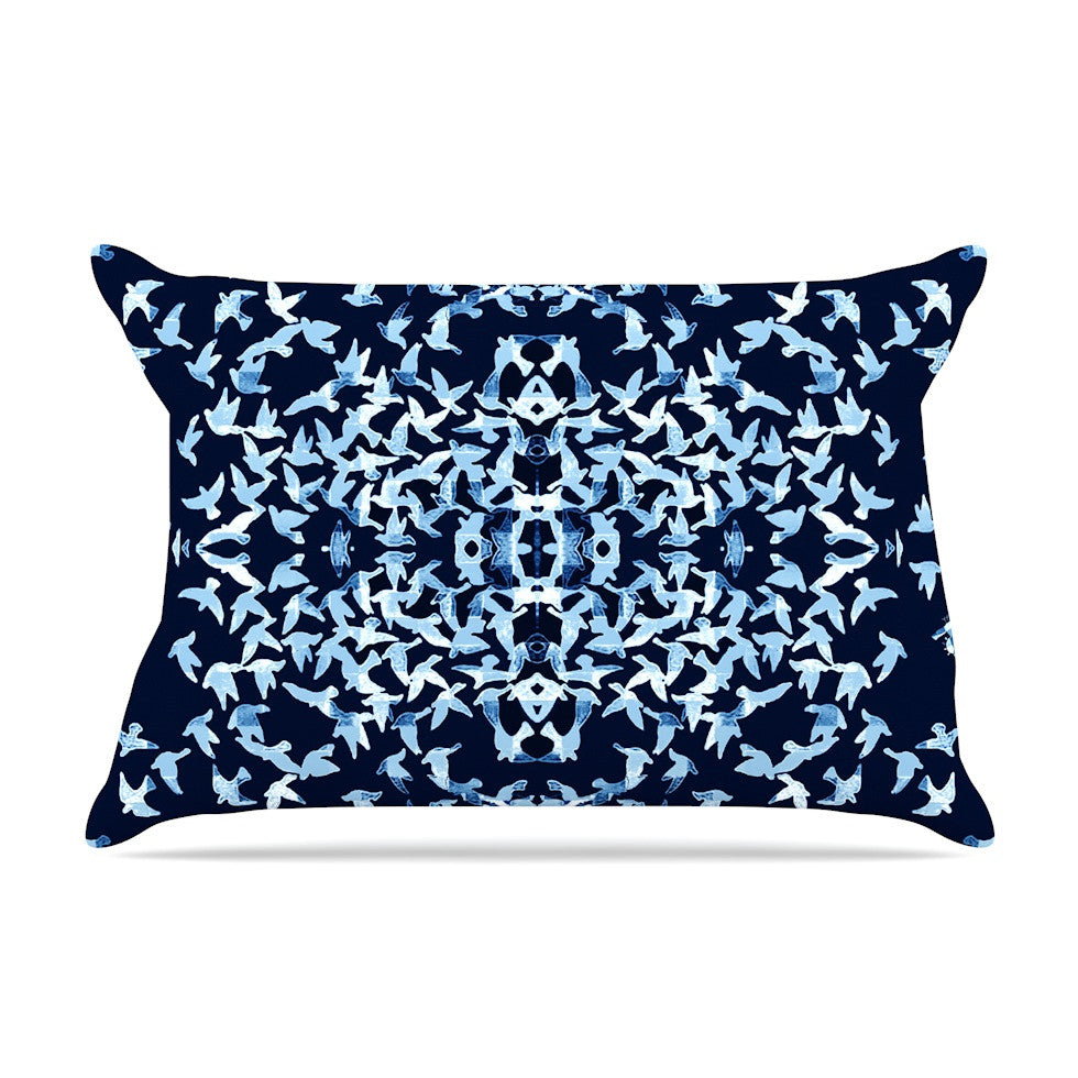 "Marianna Tankelevich ""Night Birds"" Blue Abstract Pillow Sham - KESS InHouse"