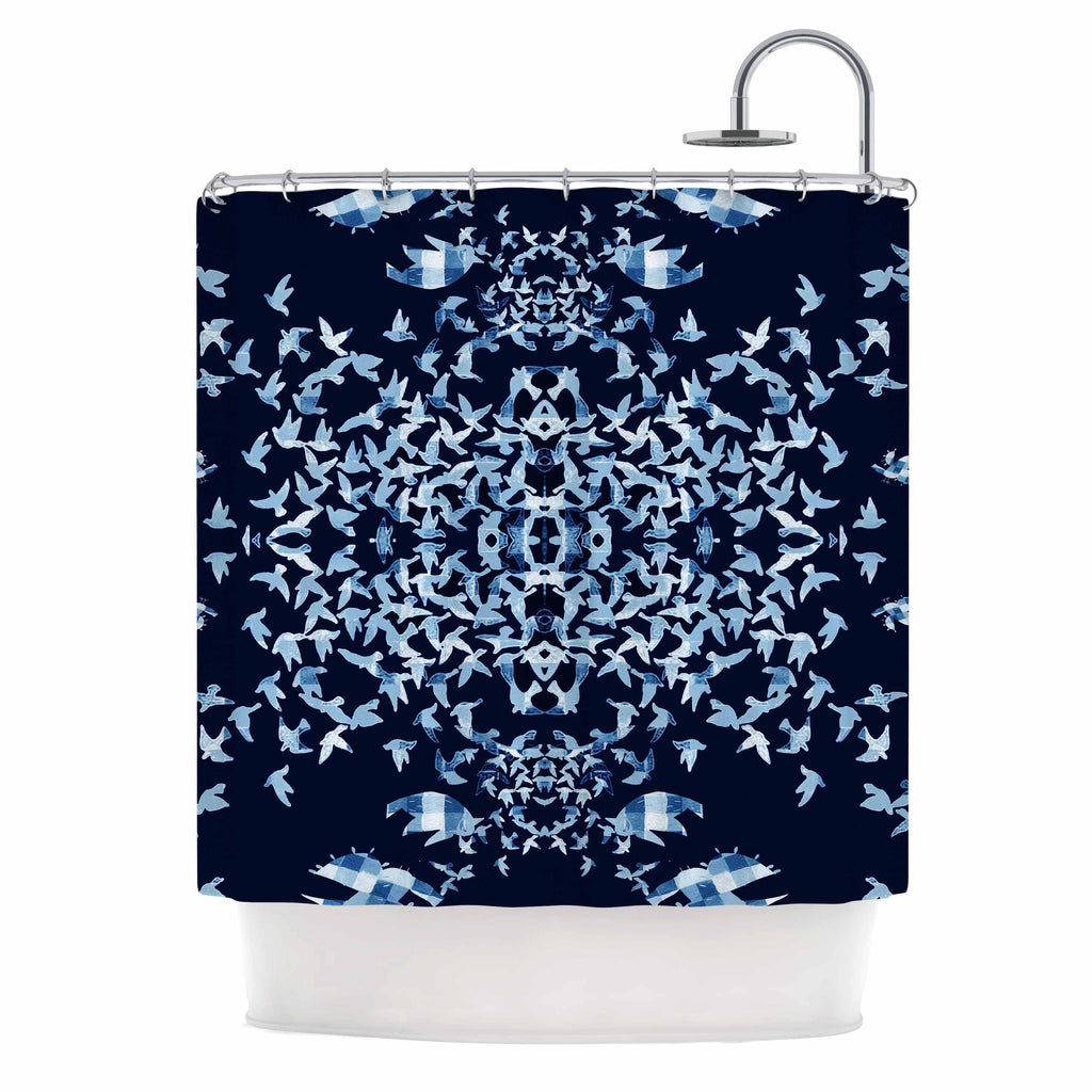 "Marianna Tankelevich ""Night Birds"" Blue Abstract Shower Curtain - KESS InHouse"