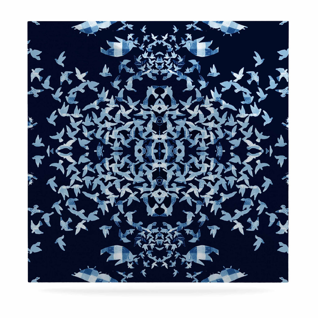 "Marianna Tankelevich ""Night Birds"" Blue Abstract Luxe Square Panel - KESS InHouse  - 1"