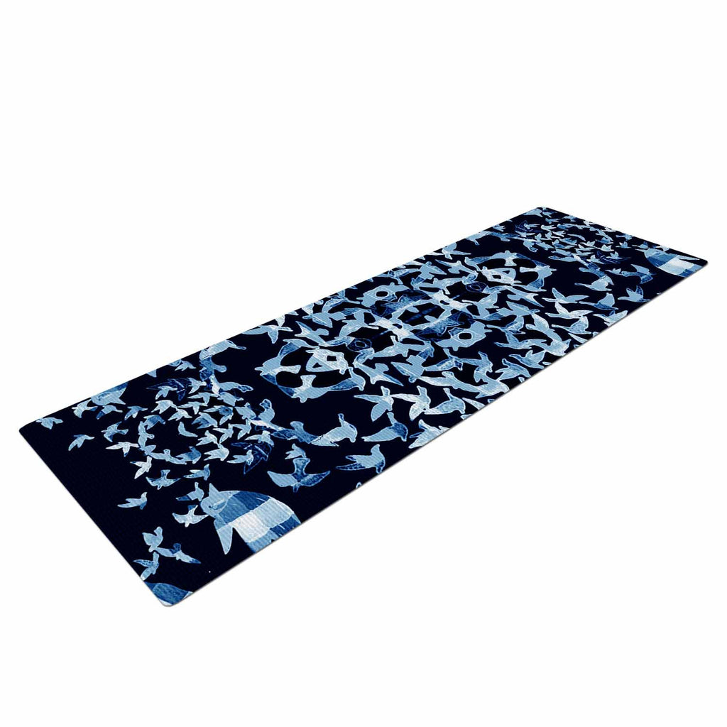 "Marianna Tankelevich ""Night Birds"" Blue Abstract Yoga Mat - KESS InHouse  - 1"