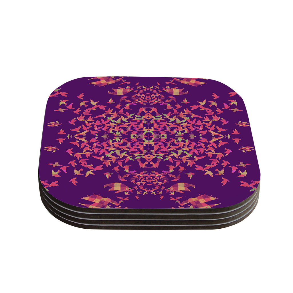 "Marianna Tankelevich ""Flying Birds Sunset"" Purple Abstract Coasters (Set of 4)"