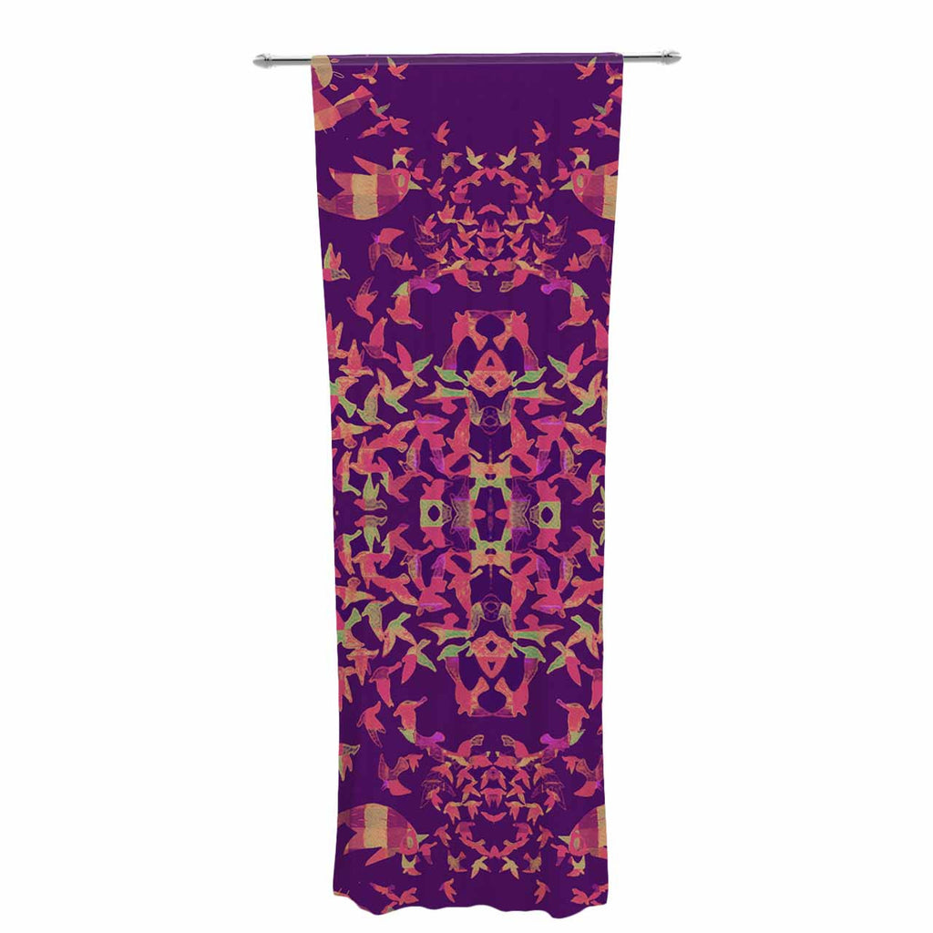 "Marianna Tankelevich ""Flying Birds Sunset"" Purple Abstract Decorative Sheer Curtain - KESS InHouse  - 1"