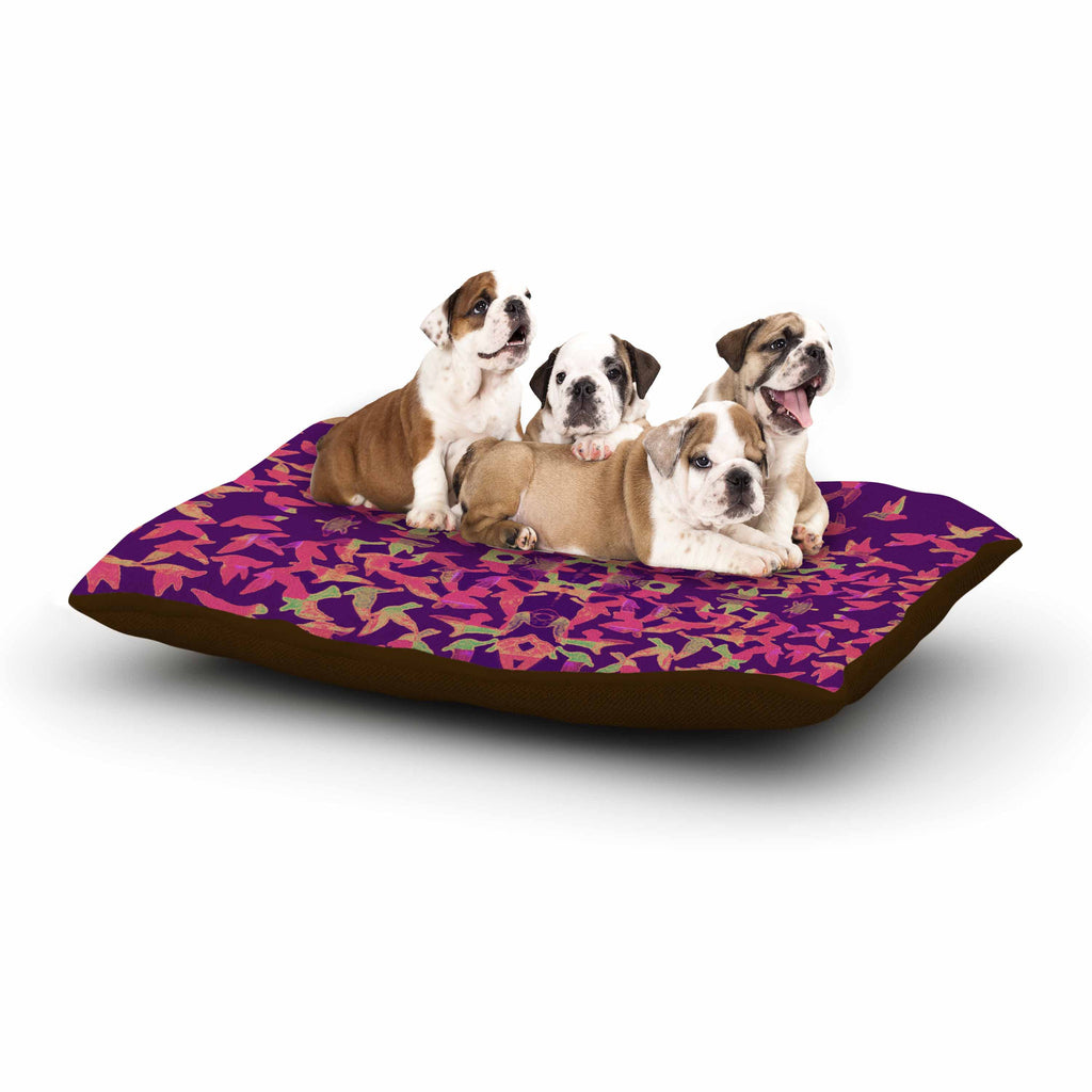 "Marianna Tankelevich ""Flying Birds Sunset"" Purple Abstract Dog Bed - KESS InHouse  - 1"