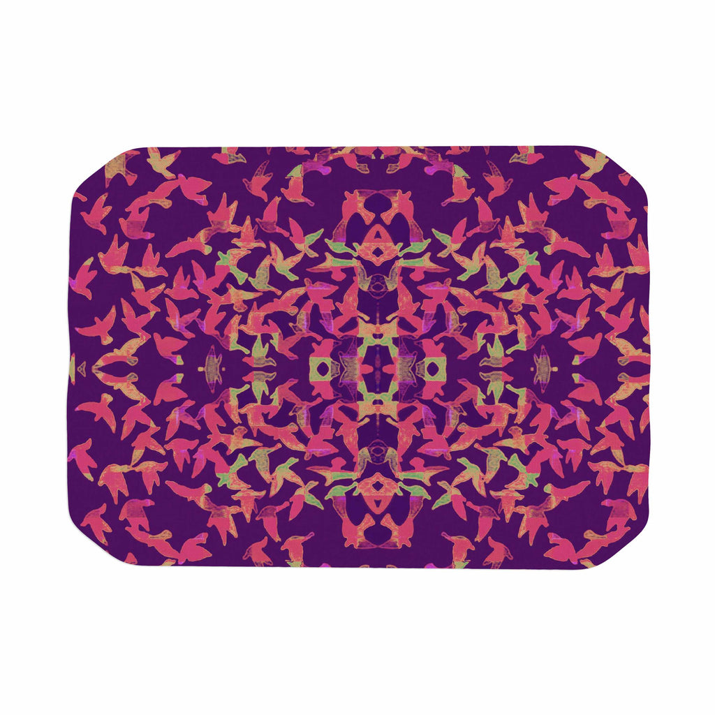 "Marianna Tankelevich ""Flying Birds Sunset"" Purple Abstract Place Mat - KESS InHouse"