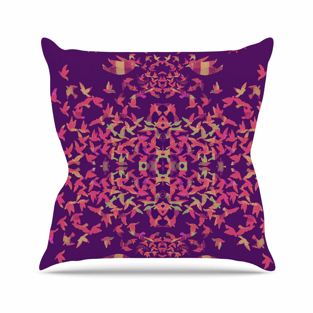 "Marianna Tankelevich ""Flying Birds Sunset"" Purple Abstract Outdoor Throw Pillow - KESS InHouse  - 1"