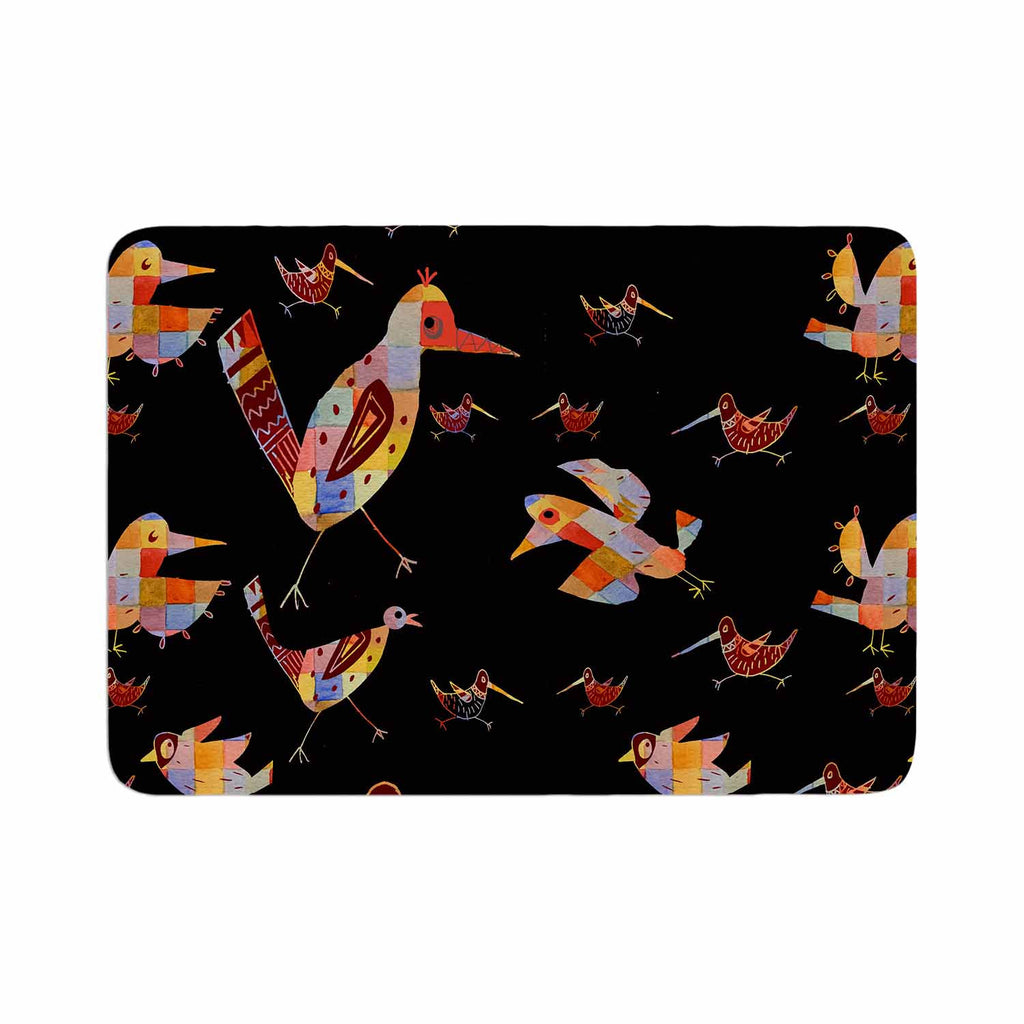 "Marianna Tankelevich ""Birds on Black"" Black Abstract Memory Foam Bath Mat - KESS InHouse"