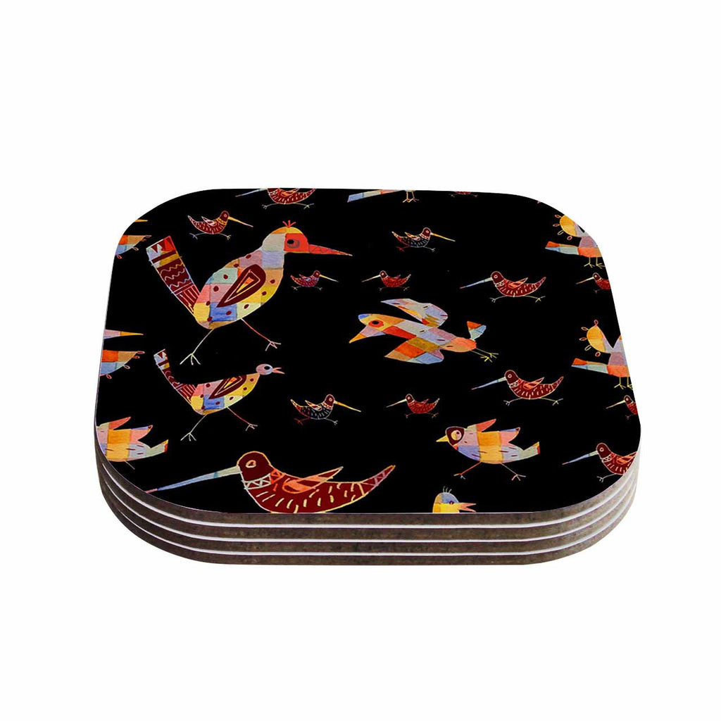 "Marianna Tankelevich ""Birds on Black"" Black Abstract Coasters (Set of 4)"