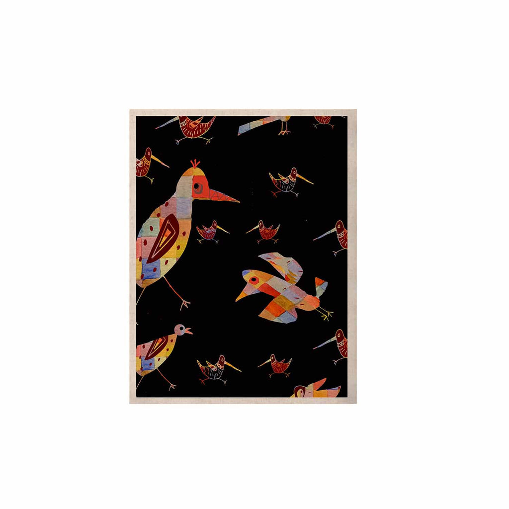 "Marianna Tankelevich ""Birds on Black"" Black Abstract KESS Naturals Canvas (Frame not Included) - KESS InHouse  - 1"