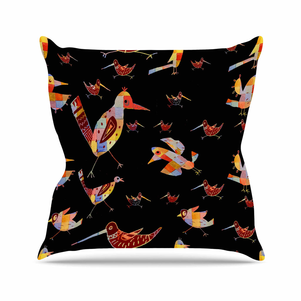 "Marianna Tankelevich ""Birds on Black"" Black Abstract Outdoor Throw Pillow - KESS InHouse  - 1"