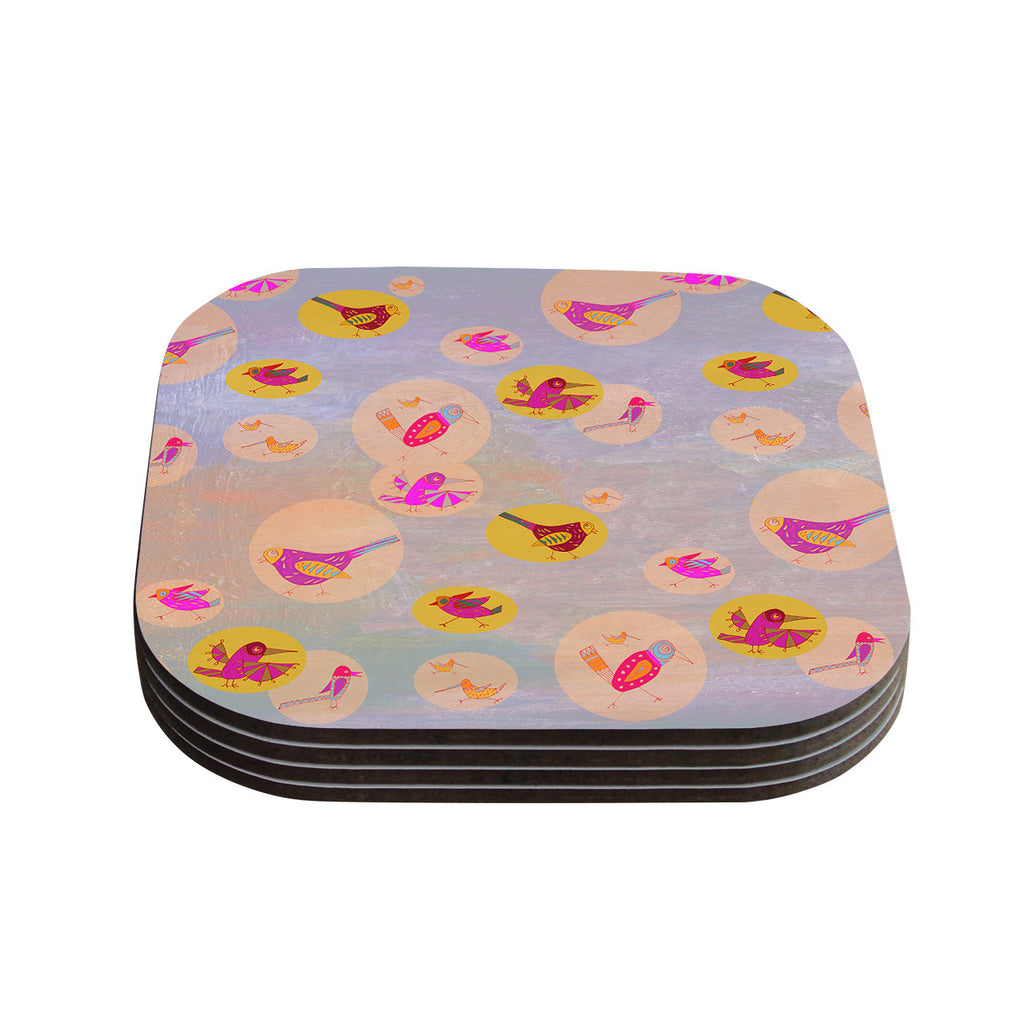 "Marianna Tankelevich ""Birds Paradise"" Pink Abstract Coasters (Set of 4)"